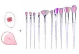 MEIQING 10 PC Makeup Brush Set Unicorn Design Brushes Profes