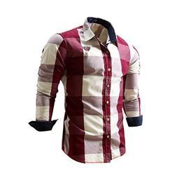 Realdo Mens Plaid 100% Cotton T-Shirt, Men's Casual Slim Lon