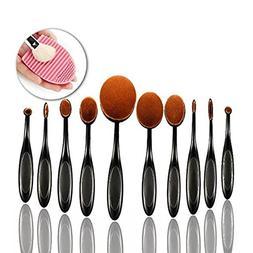Sunroyal 10pcs Oval Makeup Brush Set, Professional Plastic H