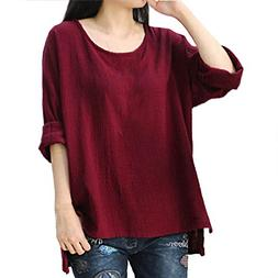 Challyhope Women Crewneck Long Sleeve Casual Loose Tunic Blo