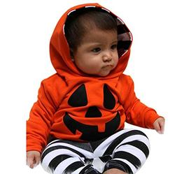 Morecome Infant Halloween Outfits Set Boy Girls Pumpkin Hood
