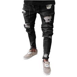 Realdo Men's Hole Jeans, Casual Solid Slim Elastic Waist Pen