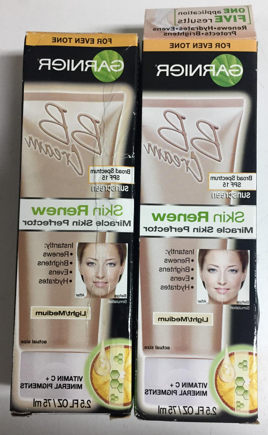 2 PACK Garnier BB Cream Skin Renew SPF 15 Light/Medium 2.5 f