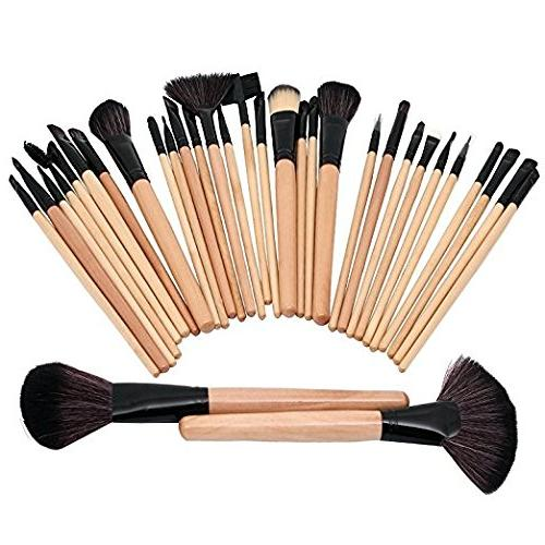 Queentools 32 Pcs Collection Wooden Makeup Brushes Set with