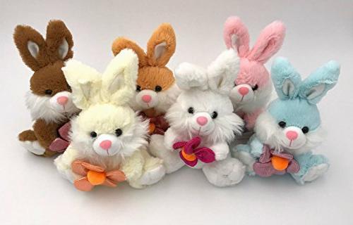 Set of 6: Fluffy Plush Bunny Rabbits: Blue, Pink, White, Tan
