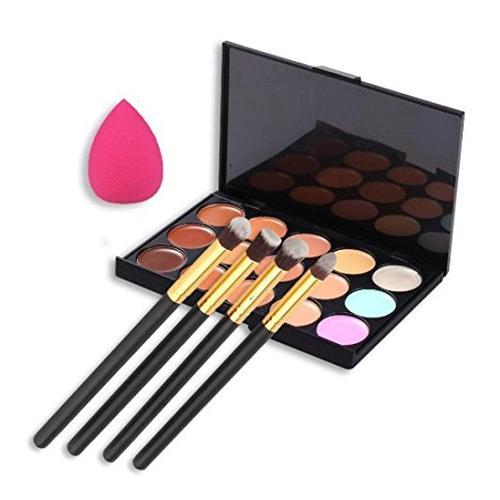 Usstore 4PC Makeup Brushes + 1PC Palette Concealer +1PC Spon