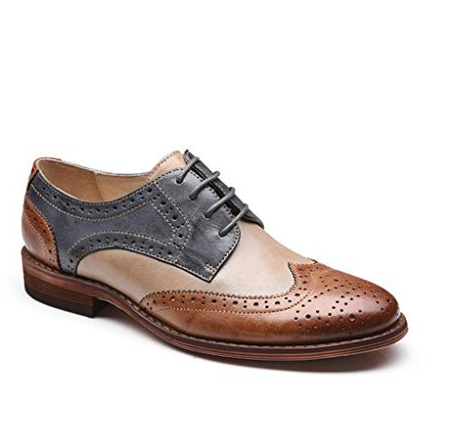 brown blue perforated lace wingtip