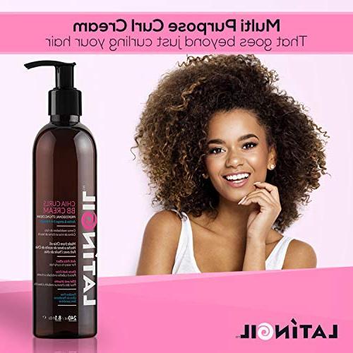 LATINOIL Curl Cream - Chia Seeds Oil Leave-In Hair Treatment Curls Light Natural Perm Hair - 8.5