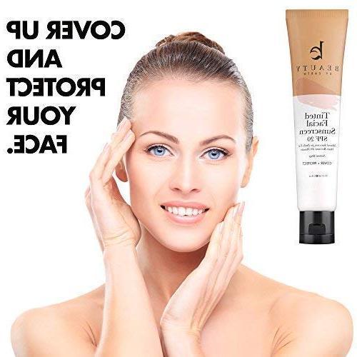 Tinted - 20 With Natural & Organic Broad Sunblock Lotion, Tinted Sunscreen Face Facial