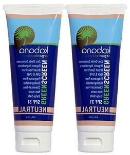 Organic Sunscreen Green Screen Zinc Oxide SPF 31 Tinted NEUT