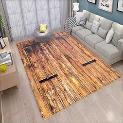Rustic Anti-Skid Rugs Antique Timber Planks in Weathered Ton